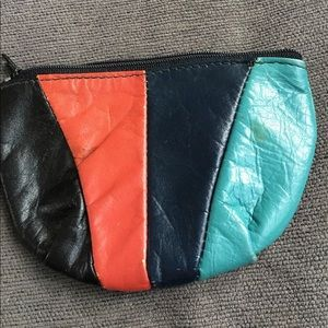 Vintage Leather on Hide Multicolor Change Purse